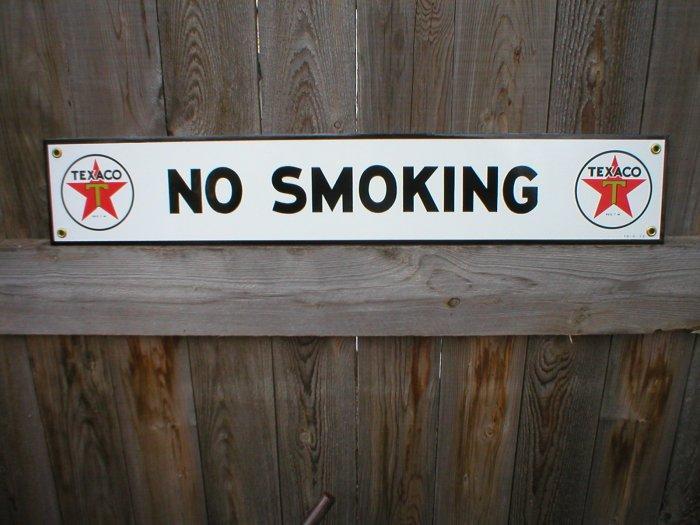 TEXACO NO SMOKING PORCELAIN-COATED SIGN T