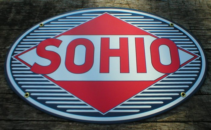SOHIO PORCELAIN-COATED ADV SIGN S