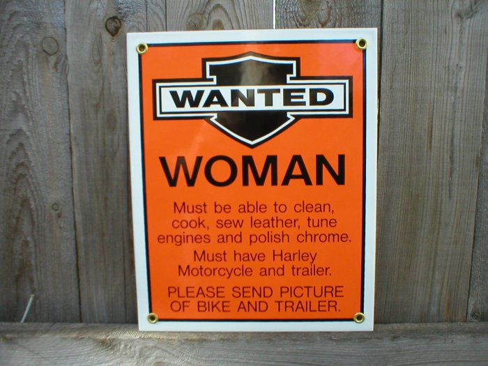 WANTED WOMAN PORCELAIN-COATED SIGN B