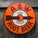 A & W ROOTBEER PORCELAIN-COATED ADV SIGN A