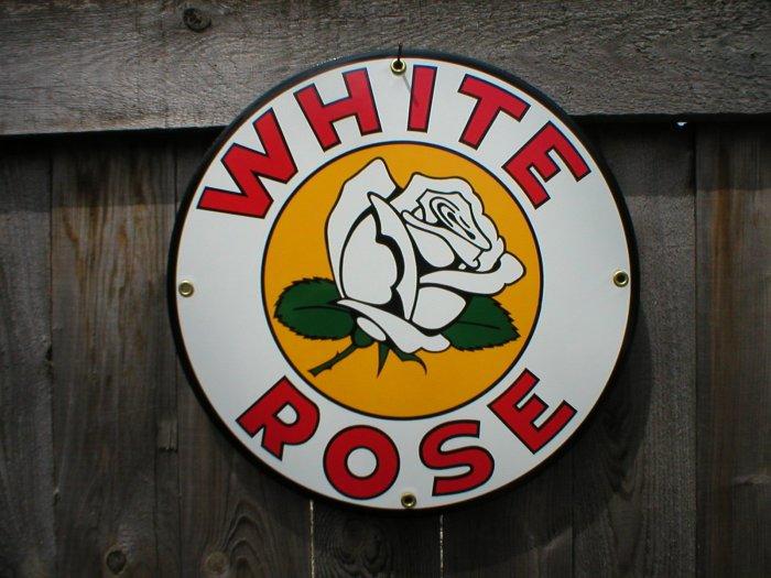 WHITE ROSE PORCELAIN-COATED RETRO ADV SIGN W
