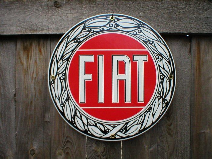 FIAT PORCELAIN-COATED RETRO ADV SIGN F