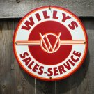 WILLYS PORCELAIN-COATED RETRO ADV SIGN F