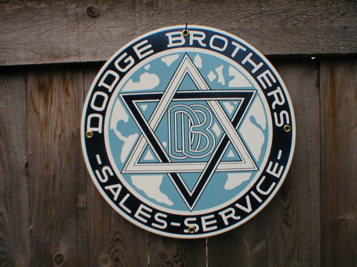 DODGE BROTHERS PORCELAIN-COATED RETRO ADV SIGN C