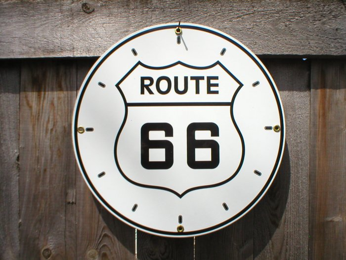 ROUTE 66 CLOCK FACE SIGN METAL ADV SIGNS R