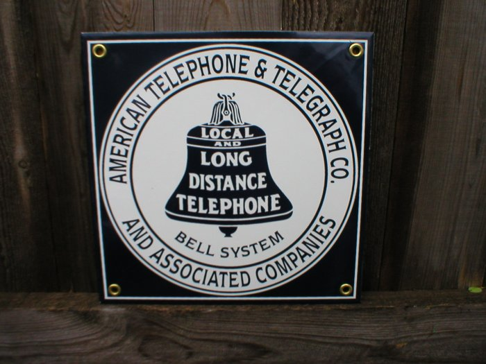AMERICAN TELEGRAPH & TELEGRAPH PORCELAIN-COATED SIGN T