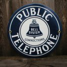 PUBLIC TELEPHONE PORCELAIN-COATED SIGN P