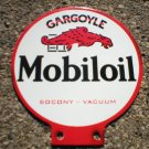 MOBILOIL PORCELAIN-COATED DOUBLE-SIDED LUBESTER SIGN M