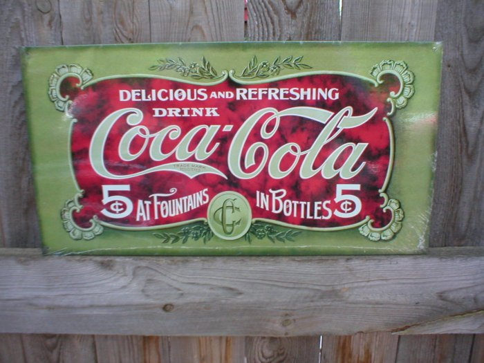COCA-COLA  FIVE CENTS TIN SIGN METAL RETRO ADV SIGNS C