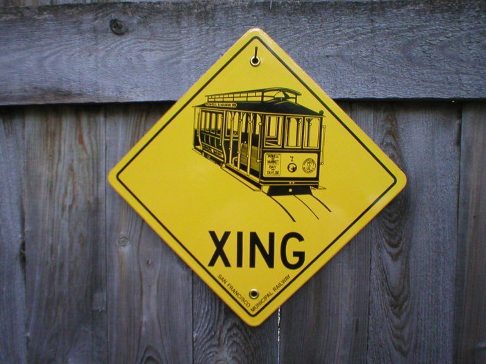 SAN FRANCISCO CABLE CAR CROSSING PORCELAIN-COATED RAILROAD SIGN S