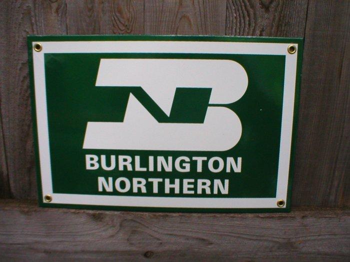 BURLINGTON NORTHERN PORCELAIN-COATED RAILROAD SIGN A