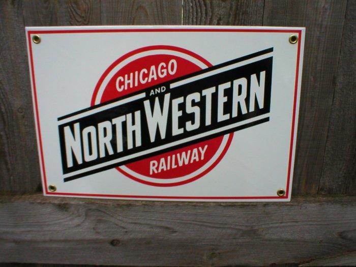 CHICAGO NORTHWESTERN RAILWAY PORCELAIN-COATED RAILROAD SIGN C