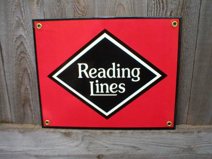 READING LINES PORCELAIN-COATED RAILROAD SIGN C