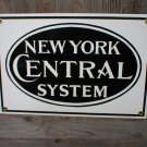 NEW YORK CENTRAL PORCELAIN-COATED RAILROAD SIGN C