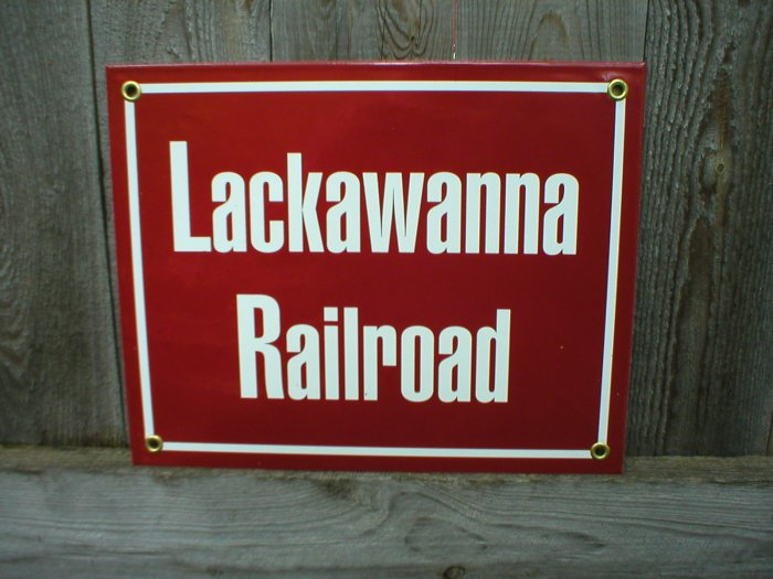 LACKAWANNA RAILROAD PORCELAIN-COATED RAILROAD SIGN C