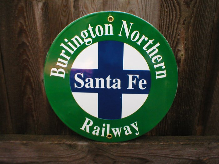 BURLINGTON NORTHERN PORCELAIN-COATED RAILROAD SIGN A