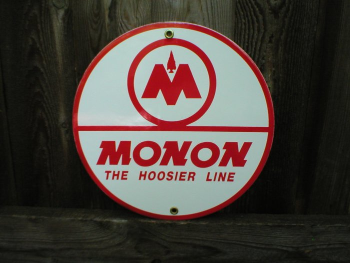 MONAN THE HOOSIER LINE PORCELAIN-COATED RAILROAD SIGN A