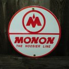 MONAN THE HOOSIER LINE PORCELAIN-COATED RAILROAD SIGN A