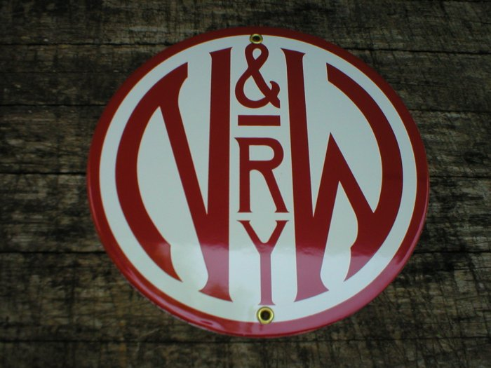 NORFOLK & WESTERN RAILWAY PORCELAIN-COATED RAILROAD ADV SIGN S