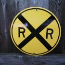 RAILROAD CROSSING PORCELAIN-COATED RAILROAD ADV SIGN S