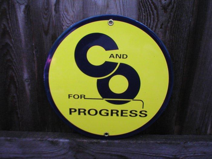 C&O FOR PROGRESS PORCELAIN-COATED RAILROAD ADV SIGN S