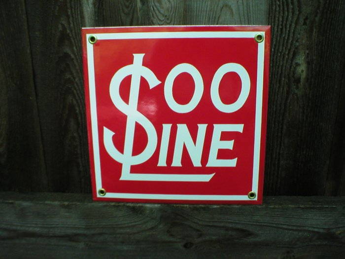 SOO LINE PORCELAIN-COATED RAILROAD SIGN S
