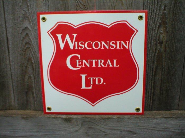 WISCONSIN CENTRAL LTD PORCELAIN-COATED RAILROAD SIGN S