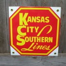 KANSAS CITY SOUTHERN LINES PORCELAIN-COATED RAILROAD SIGN S