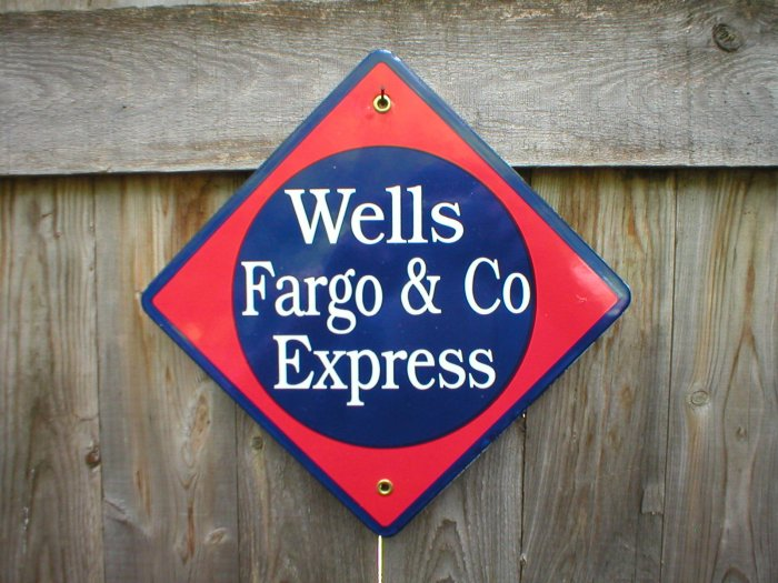 WELLS FARGO & CO EXPRESS PORCELAIN-COATED RAILROAD SIGN S
