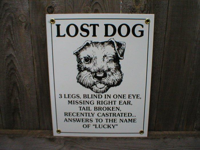 LOST DOG PORCELAIN-COATED SIGN D