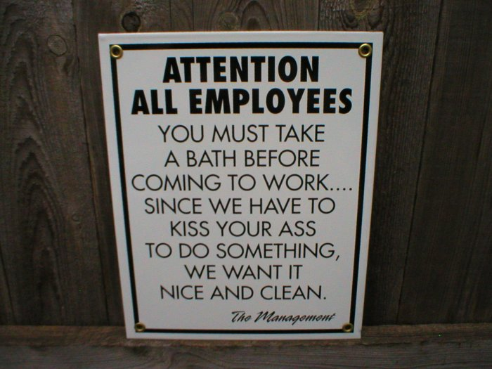 ATTENTION ALL EMPLOYEES PORCELAIN-COATED SIGN D