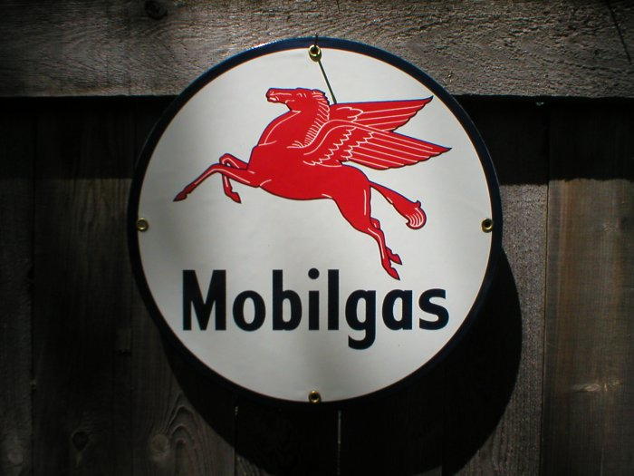MOBILGAS PEGASUS PORCELAIN COAT SIGN GAS FILLING STATION DECOR