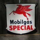 MOBILGAS SPECIAL SHIELD PORCELAIN COAT SIGN METAL ADV SIGNS