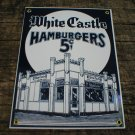 WHITE CASTLE HAMBURGERS PORCELAIN-COATED DINER SIGN C