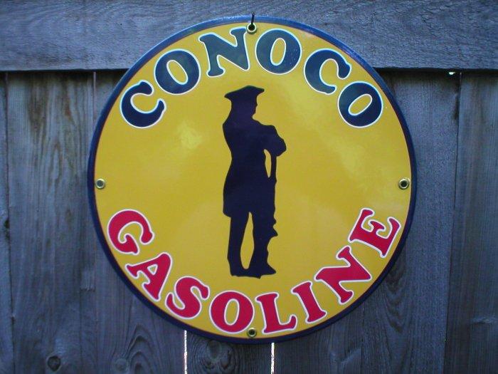 CONOCO GASOLINE PORCELAIN COAT SIGN METAL ADV SIGNS M