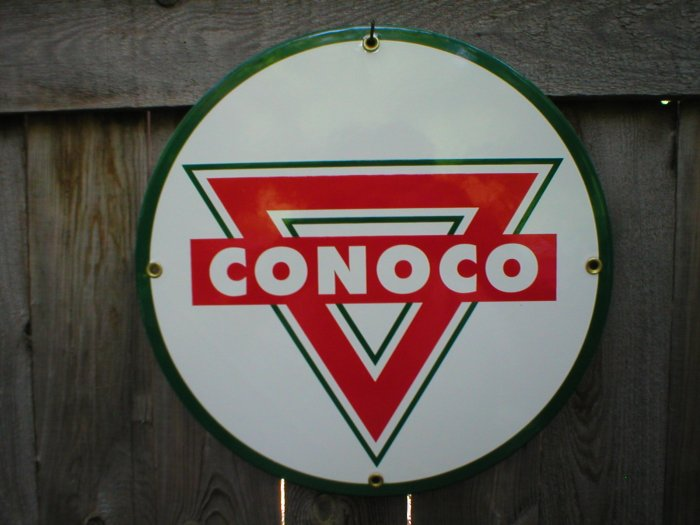 CONOCO TRIANGLE PORCELAIN COAT SIGN METAL ADV SIGNS M