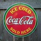 ICE COLD COCA-COLA  PORCELAIN COAT SIGN METAL ADV SIGNS M