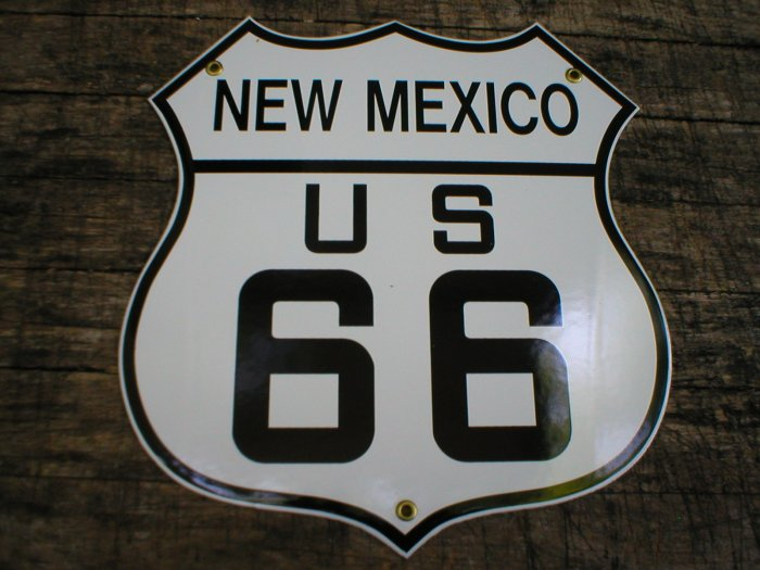 NEW MEXICO US 66 PORCELAIN-COATED SHIELD SIGN N