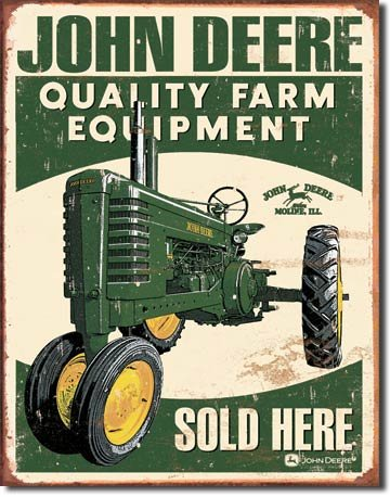 JOHN DEERE SOLD HERE TIN SIGN METAL ADV SIGNS J