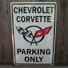 CHEVROLET CORVETTE PARKING ONLY TIN SIGN METAL SIGNS C
