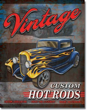 VINTAGE HOT RODS TIN ADV RETRO METAL SIGN H
