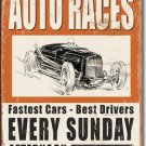 VINTAGE AUTO RACES TIN SIGN RETRO METAL ADV SIGNS