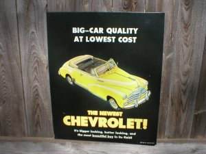 CHEVROLET CONVERTIBLE YELLOW TIN SIGN
