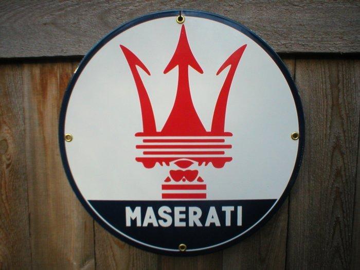 MASERATI PORCELAIN-COATED METAL SIGN