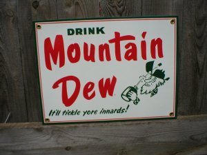 MOUNTAIN DEW PORCELAIN COATED SIGN