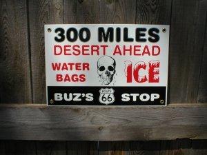 BUZ'S STOP PORCELAIN COATED SIGN