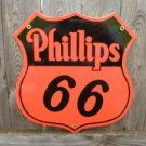 PHILLIPS 66 PORCELAIN COATED ORANGE BLACK SIGN