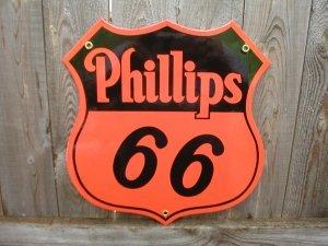 PHILLIPS 66 PORCELAIN COATED ORANGE BLACK SIGN