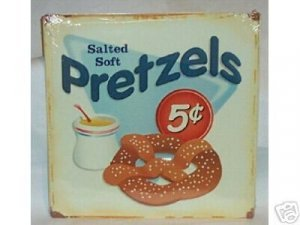 PRETZELS SALTED SOFT TIN SIGN