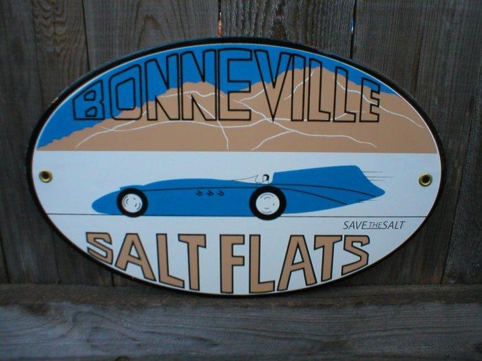 BONNEVILLE SALT FLATS PORCELAIN COAT SIGN